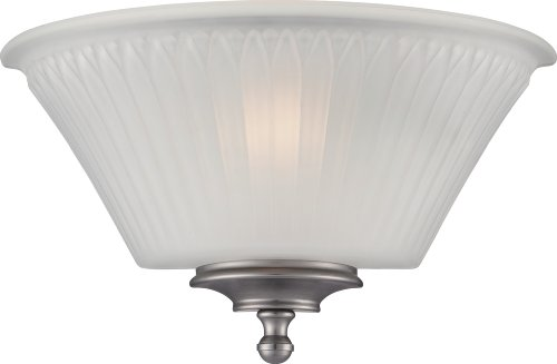 (Nuvo Lighting 60/5371 Teller One Light Wall Sconce with Frosted Glass, Brushed Nickel)