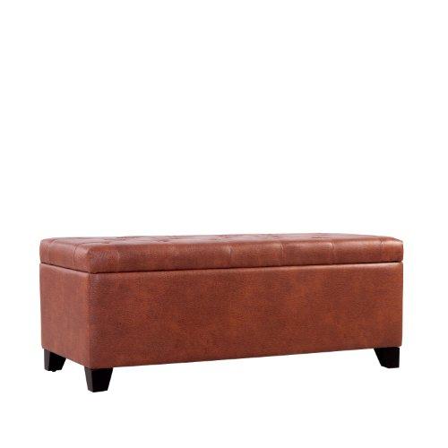 Handy Living OTT413-DAB86 Tufted Bench Storage Ottoman in Renu Honey Wheat Brown