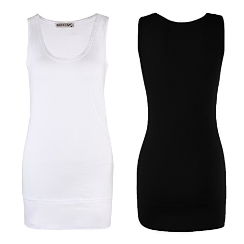 Moxeay Women Scoop Neck Cotton Extra Long Tank Top Vest (XL, Black&White)