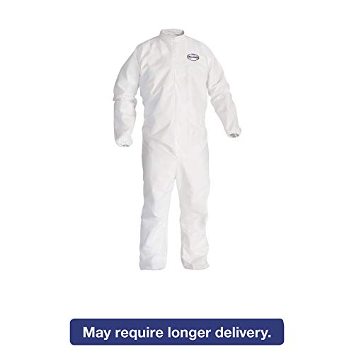 KleenGuard 46102 A30 Elastic Back and Cuff Coveralls, 4X-Large, White (Case of 25)
