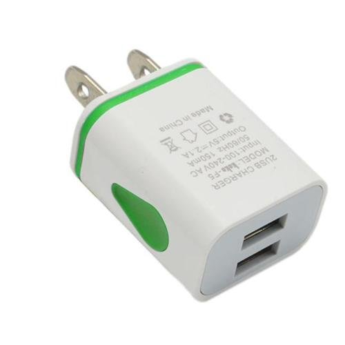 1 USB Wall Charger, HLCT Universal 2A Dual USB, LED Light Wall Charger Adapter for Apple iPhone and iPad, Samsung Galaxy, HTC, LG, Huawei, Nexus Smartphones & Tablets (Green)