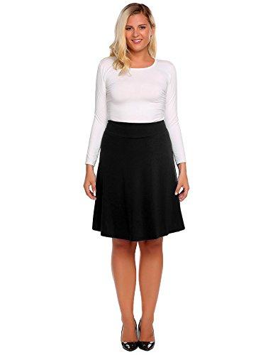 Plus Size Women Casual High Waist Knee Length Big Hem Pleated Solid (Black Travel Skirt)