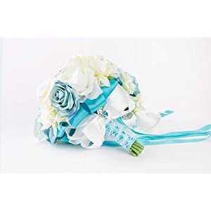 Abbie Home Light Blue Calla Lily White Dahlia Cascading Bridal Bouquets - Silk Flowers for Beach Wedding with Ribbon and Lace Décor (A Cascading Bouquet) 2