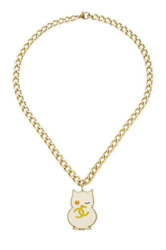 CHANEL White Enamel Owl Necklace (Pre-Owned)