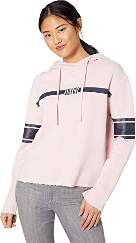 - Juicy Couture Women's Knit JXJC Logo Center Stripe Hooded Pullover Palisades Pink X-Large