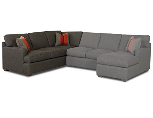 Klaussner Loomis Corner Sofa, 95 by 39 by 30-Inch, Charcoal