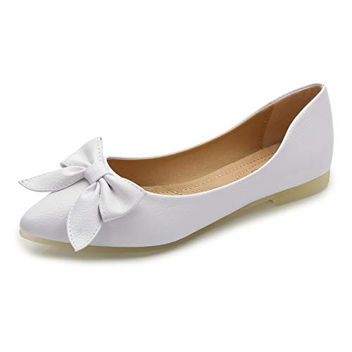 LUXINYU Women Bowknot Pointed Toe Flats Shoe Women's Comfortable Bow Point Toe Slip On Ballet Flat Dress Shoes Ballet Flats Suede Flat Shoess PU White US -