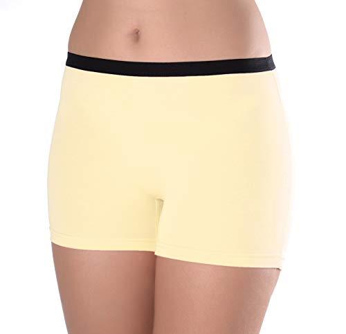(Women's 3 Pack Comfortable Cotton Bike Yoga Boxer Brief Boyshort (Small,)