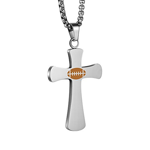 Mens Designer Steel Cross - EZcapes Stainless Steel Necklace for Mens Boys Cross Pendant Necklace Magnetic Energy Necklace