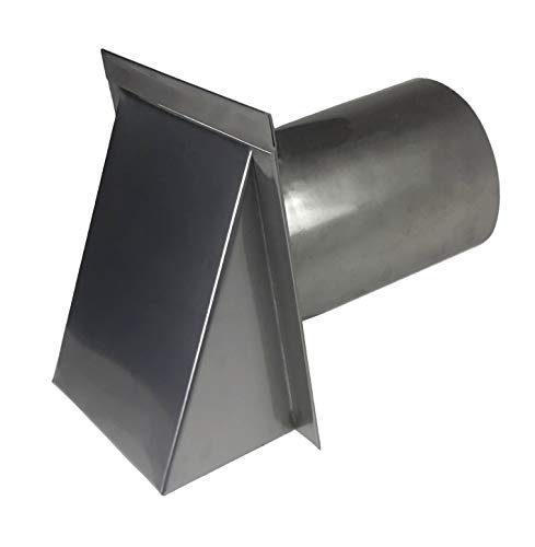 Hooded Wall Vent Cap In 304 2B Stainless Steel For Exhaust Vent, Dryer Vent, Or HVAC Intake Vent Cover - Low Profile Thru-wall Vent - Many Sizes, Screen, And Damper Available (Screen & Damper, 4 Inch) ()