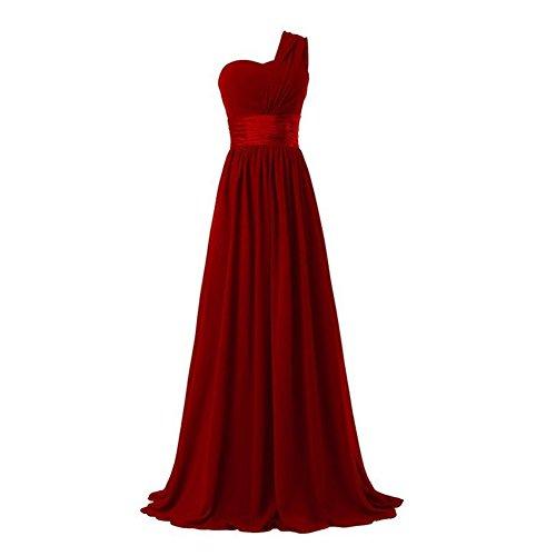ZHIHONG Women's Chiffon One Shoulder Party Evening Gong Long Bridesmaids Dress (US 6, Red Wine)