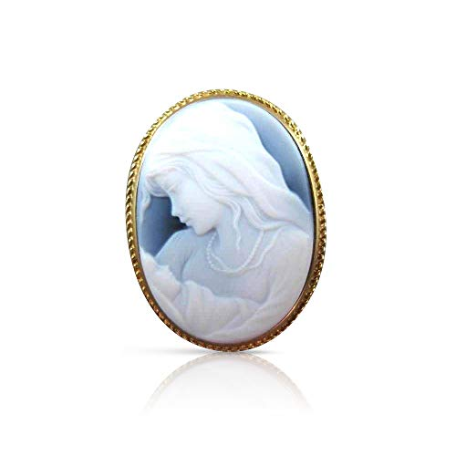 Milano Jewelers Oval 14K Yellow Gold Handcrafted Filigree Blue Cameo Pendant Brooch 22496