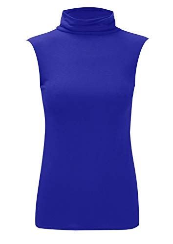 Momo&Ayat Fashions Ladies Stretch Jersey Turtle Neck Sleeveless Top Tshirt US Size 4-22 (S/M (US 4-6), Royal Blue)