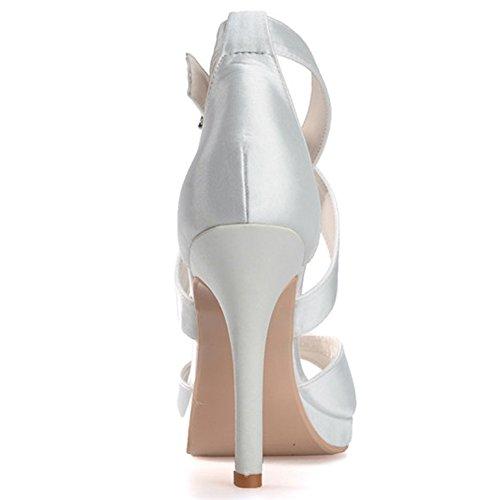 Elobaby Donna Scarpe Da Sposa In Seta Suola Stiletto Pompa Peep Toe Partito E Sera / Lc-5915-11 Viola