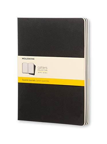 """Moleskine Cahier Journal, Soft Cover, XL (7.5"""" x 9.5"""") Squared/Grid, Black, 120 Pages (Set of 3)"""