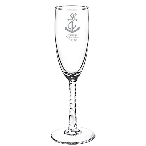 Personalized Color Printed Twisted Stem Champagne Flute - Anchor - Silver - 24 pack (Twisted Stem Flute)