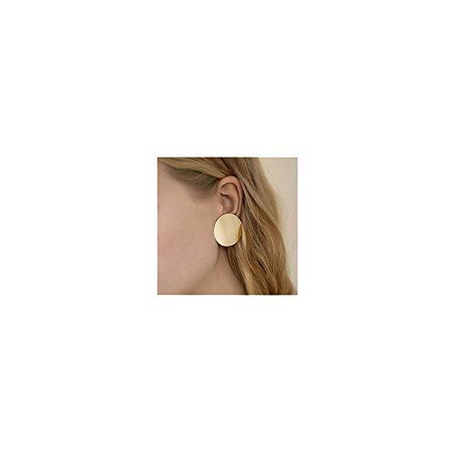 Elegant Gold Disc Round Circle Stud Hoop Earrings for Women Girl