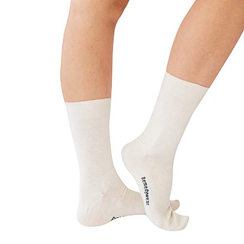 Moisturizing Socks for Foot Repair | Moisture Socks for Feet with Anti-Inflammatory (Tencel + Zinc) for Foot Softening - White Adult (L) -