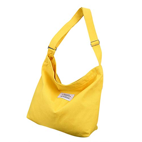 """Belsmi Womens Ladies Girls Large 16"""" Heavy Lightweight Cotton Polyester Shoulder Bag Shopping Retro Casual Handbags Canvas Totes Bag (Yellow)"""