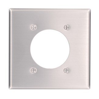 Single Outlet Plate Wall (Leviton Available 83026 2-Gang Flush 2.15-Inch Diameter, Receptacle Wallplate, Standard Size, Device Mount, Aluminum, quot Dia)