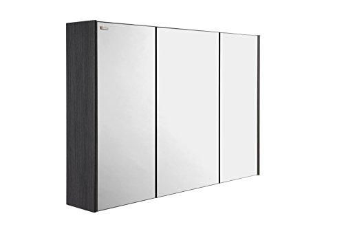 VALENZUELA Dune / Solco 48 Inch Medicine Cabinet Bathroom Vanity Mirror, Wall Mount, 3 Doors, Grey Finish (VET0120202) by DAX