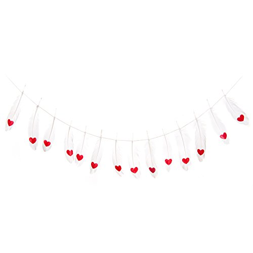 Ling's Moment 10 Feet Red Hearts White Feather