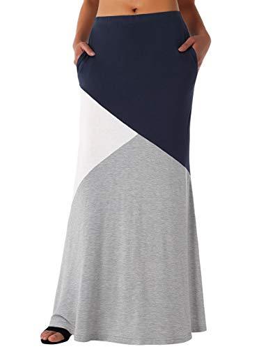 DJT Maxi Skirts for Women, Women's Color Block High Waist Comfy Long Maxi Skirt with Pockets Grey+Navy - Block Skirt
