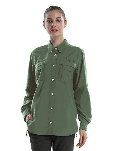 Women's Quick Dry Sun UV Protection Convertible Long Sleeve Shirts for Hiking Camping Fishing Sailing Army Green M