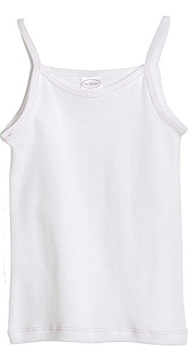 - City Threads Little Girls' Cotton Camisole Cami Tank Top T-shirt Tee Tshirt spaghetti Straps Summer Play School Sports Sensitive Skin SPD Sensory Sensitive Clothing - White - 6