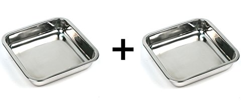 Happy Sales HSSSP-SQ2, 8-Inch Stainless Steel Cake Square Pan Set of 2 (Small Dish Loaf)