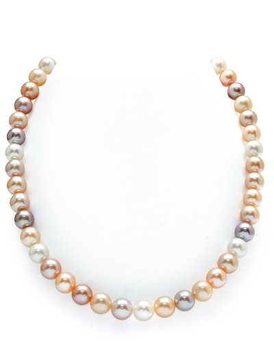 THE PEARL SOURCE 9-10mm AAA Quality Round Multicolor Freshwater Cultured Pearl Necklace for Women in 16