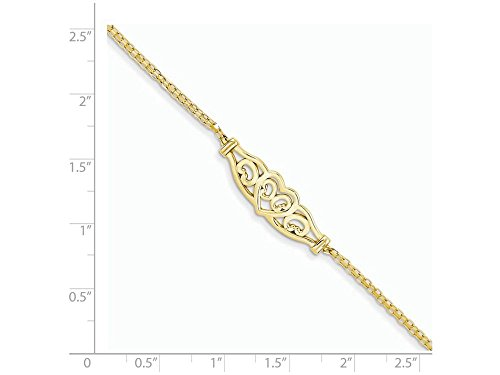 Finejewelers 9 Inch 14k Yellow Gold Heart Anklet (Smaller Ankles)
