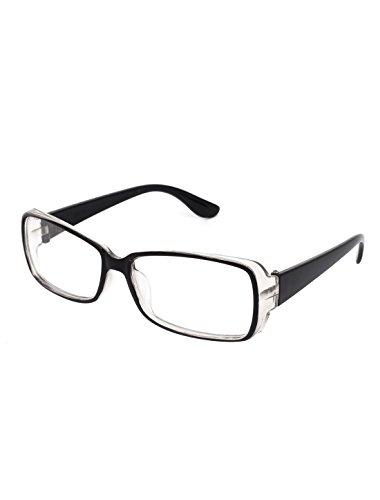 Plastic Lady Full Rim Single Bridge Lens Plain Glasses Black Clear