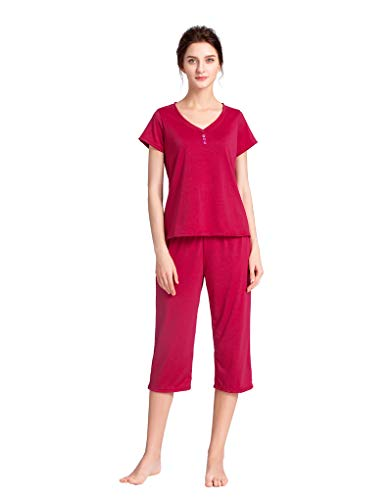 YIJIU Women's V Neck Sleepwear Short Sleeves Top with Capri Pants Pajama Set Red