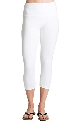 (Intro Tummy Control High Waist Capri Length Legging WHT-1X White)