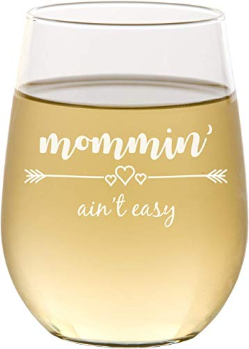 Mommin Aint Easy Stemless Wine Glass, Mom Gifts, Gift for Her, Mothers Day, Christmas - SG20