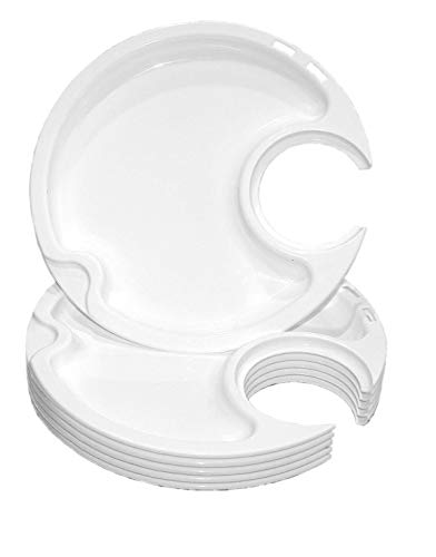 (EZ Plates - Plastic Plates with Cup Holder | Unbreakable, Microwave and Dishwasher Safe - Set of 6)