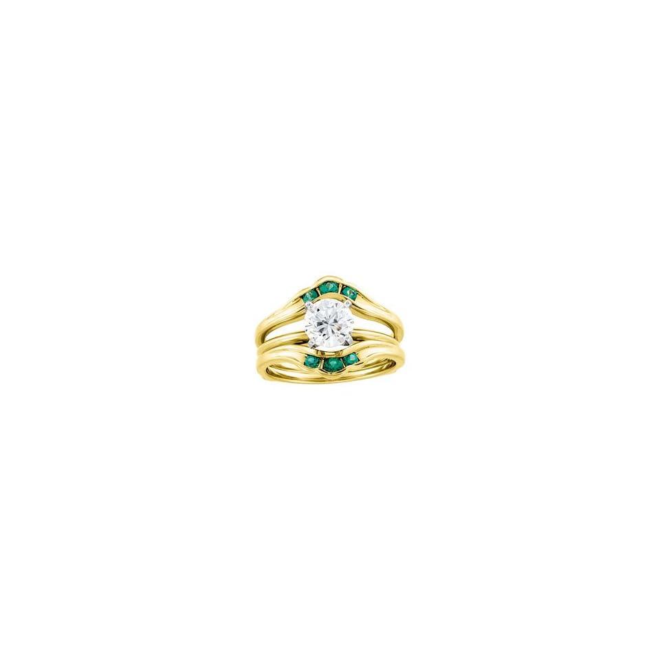 02.50Mm 14K Yellow Gold Bridal Ring Guard Genuine Emerald