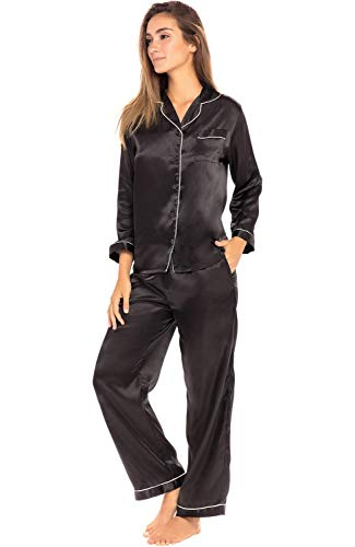 Alexander Del Rossa Women's Button Down Satin Pajama Set with Sleep Mask, Long Silky Pjs, Medium Black with Cream Piping (A07