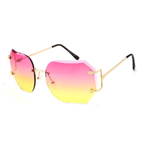CY SUN OVERSIZE RIMLESS CLASSIC VINTAGE RETRO Style EYE GLASSES Gold Frame (Gold, Pink) (Gold, Pink/Yellow)