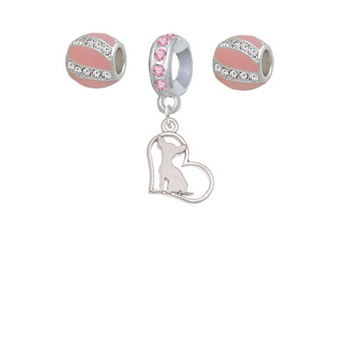Set of 3 Chihuahua Silhouette Heart Pink Sparkle Crystal Charm Beads