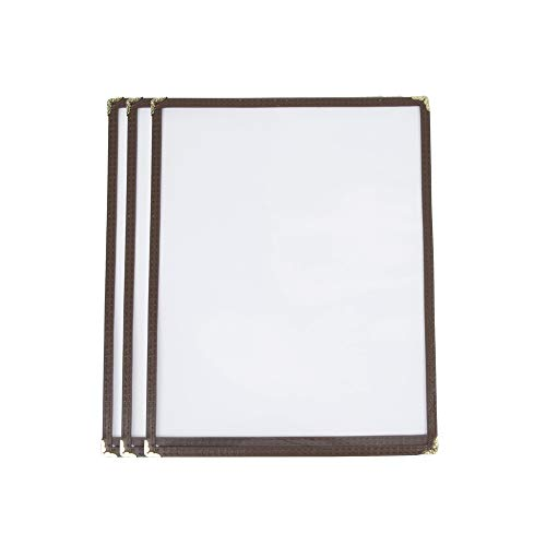 ((10 Pack) Single Menu Covers, Brown, 8.5 x 11-inches Insert, 2 View, Restaurant Menu Covers with Double Stitched Binding and Protective Corners)