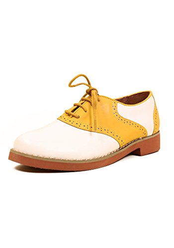 Oxford SALLY Chelsea Retro Mustard Saddle Two Flats Tone Crew YAOxv