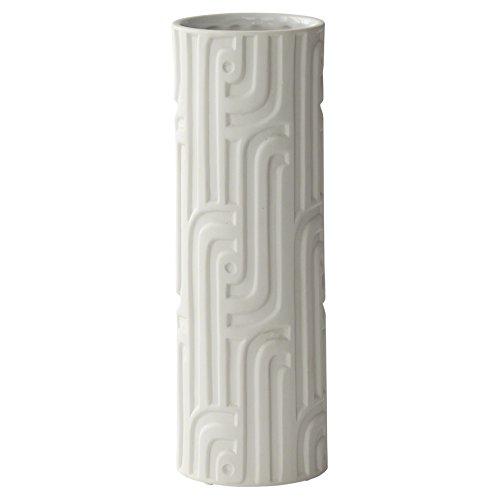 Kathy Kuo Home Sheron Modern Matte White Geometric Column Porcelain Vase
