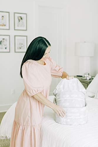 318EE0UMB4L - Baby Delight Snuggle Nest Harmony Infant Sleeper | Silver Clouds Fabric Pattern | Portable Sleeper With Sound & Light Unit | Waterproof Foam Mattress W/ Sheet