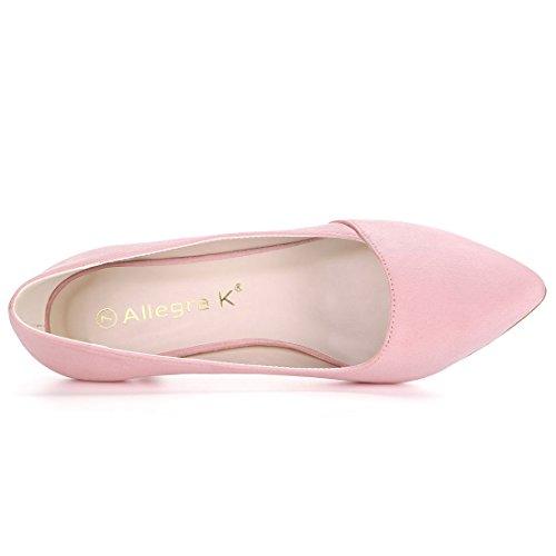 Allegra K Womens Pointed Toe Kitten Heel Pumps Pink