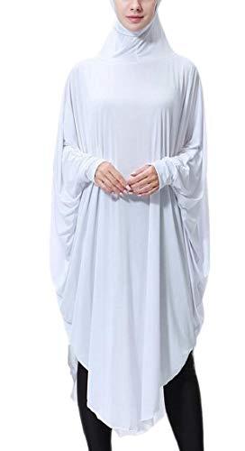 White Batwing Women Dress Long Ramadan Sleeve Islamic Muslim Hijab Jaycargogo zwqv7wF