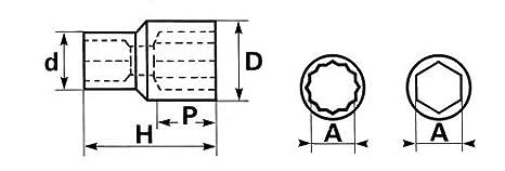 SAM Outillage S-25 Douille courte 1//2 12 Pans de 25 mm