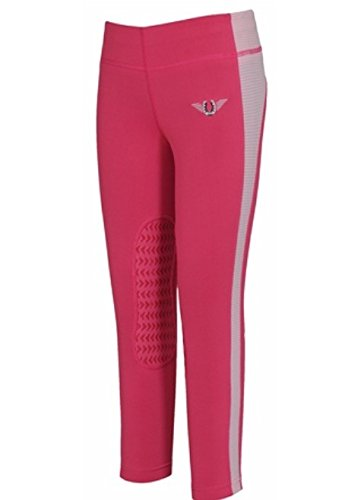 TuffRider Kid's Ventilated Schooling Tights, Hot Pink/Pink, X-Small