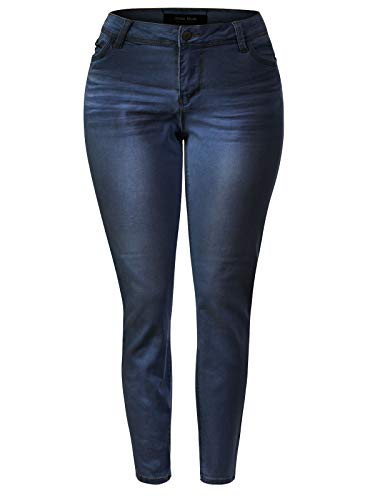 Design by Olivia Women's Classic High Rise Denim Stretchy Skinny Jeans Dark Blue XL ()